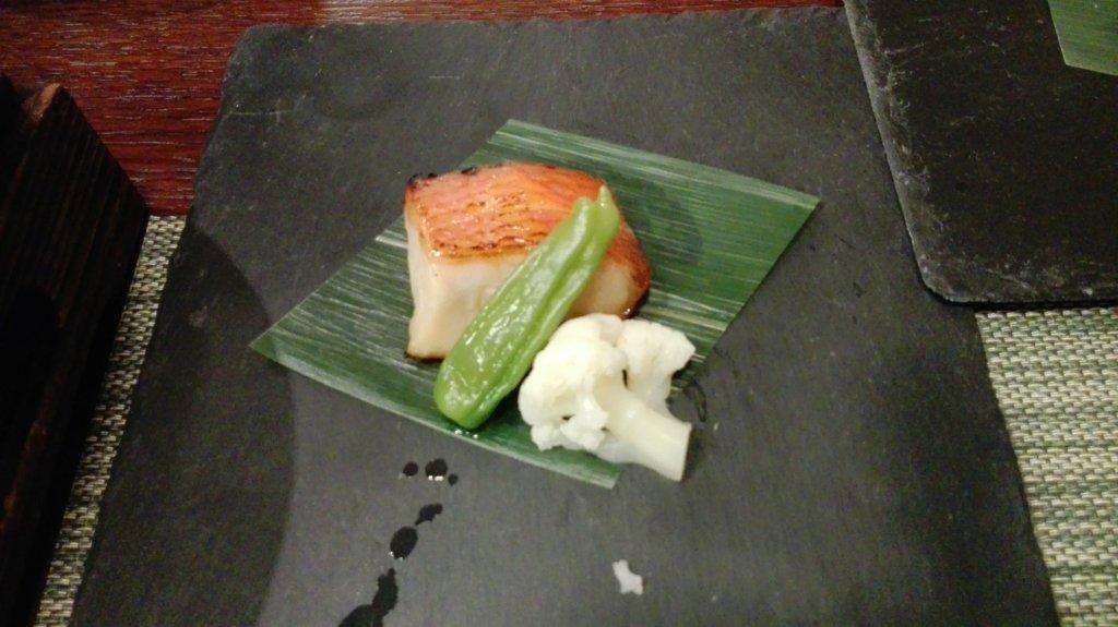 愛犬お宿の夕食の金目鯛西京焼き