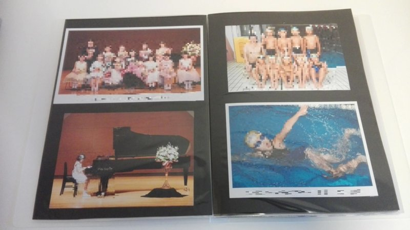 習い事の集合写真用を収めた無印ポリプロピレンソフトフィルムクリアホルダーA4サイズ