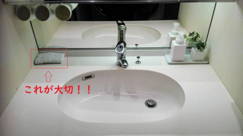 掃除用の白いタオルを隅に置いてこまめに掃除できるようにした洗面所