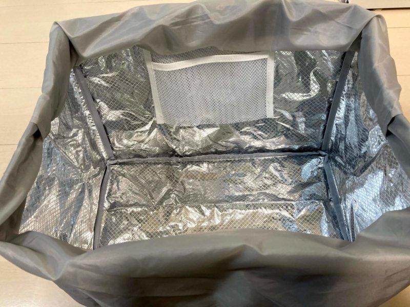 保冷機能と保冷剤用ポケットがついた買い物かごバッグbon momentの内側