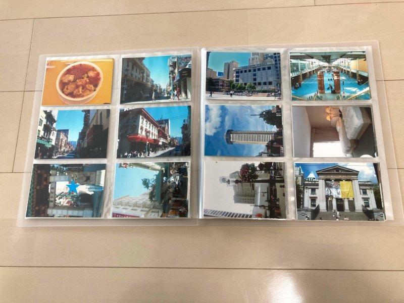 無印良品 ポリプロピレンアルバム L判・264枚用に見開き12枚の写真を収めたところ