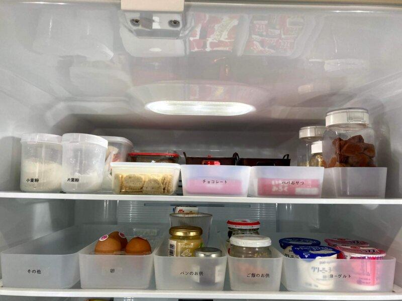 無印ポリプロピレン整理ボックスを並べた冷蔵庫内