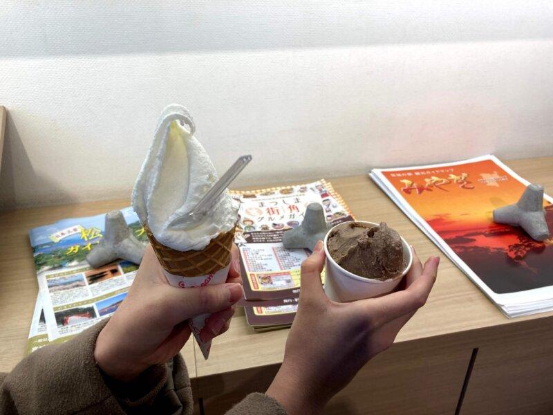松島「たいかん亭」塩竃の藻塩ジェラートとチョコレートジェラート
