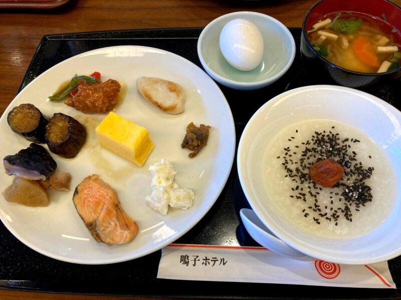 『鳴子ホテル』朝食バイキングの取って来たお料理(和食)