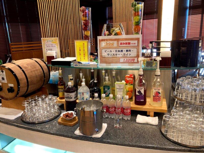 『鳴子ホテル』バイキングメニュー『アルコールコーナー』