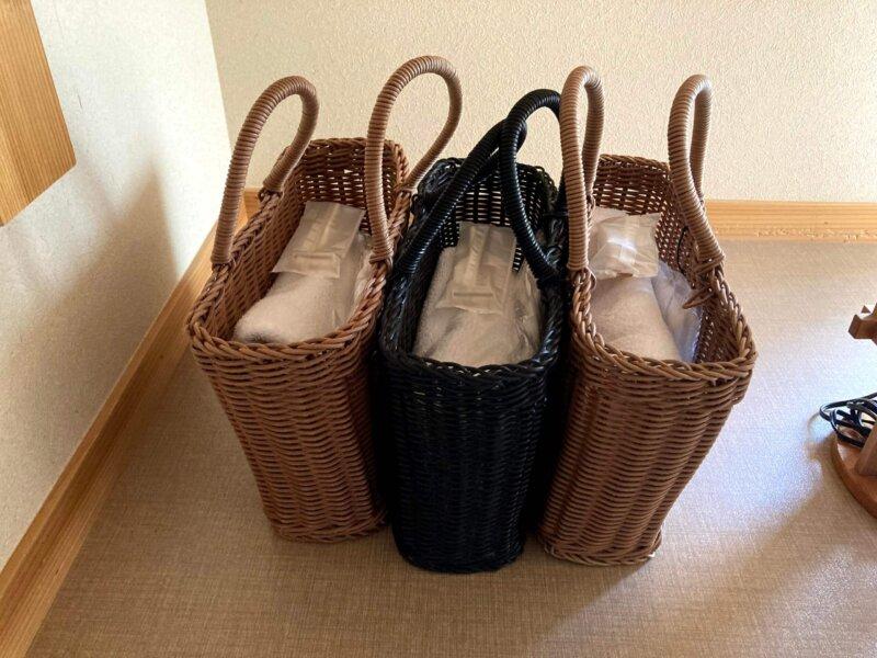 『鳴子ホテル』お風呂用のかごバッグ