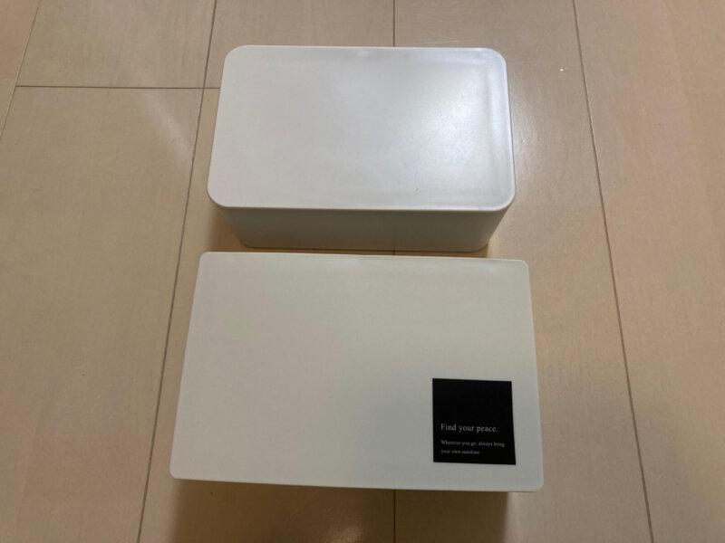 スリーコインズマスクボックスと無印良品 ポリプロピレンウェットシートケース大きさ比較