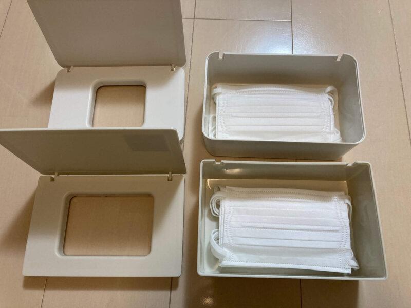 スリーコインズマスクボックスと無印良品 ポリプロピレンウェットシートケースに不織布マスク小さめサイズを入れてみたところ